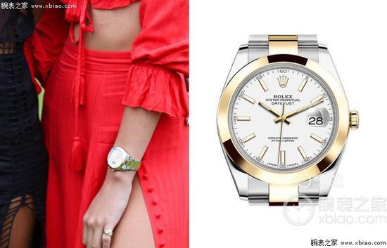 海莉佩戴勞力士日誌型系列126303白盤腕錶