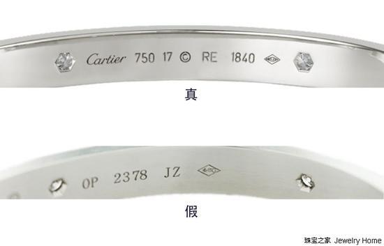 Cartier卡地亚Love手镯内部标识