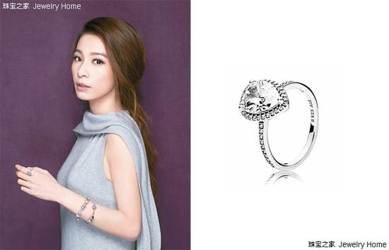 Pandora 潘多拉 Geometric Glow晶透泪滴925银锆石戒指(大)