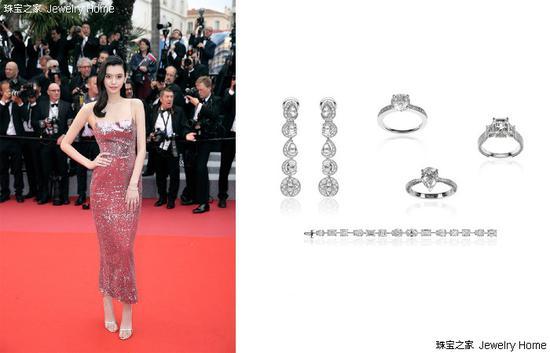 奚梦瑶佩戴Chopard萧邦高级珠宝系列耳环、戒指、手链出席戛纳红毯