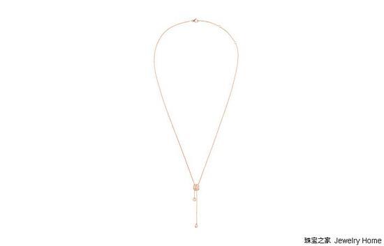 CHAUMET Liens 缘系•一生系列 结•缘主题 玫瑰金镶钻连结吊坠 长度可调节至:52cm、55cm和58cm