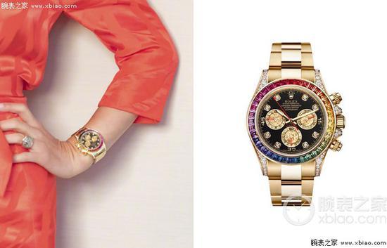 刘嘉玲佩戴劳力士彩虹迪116598RBOW腕表