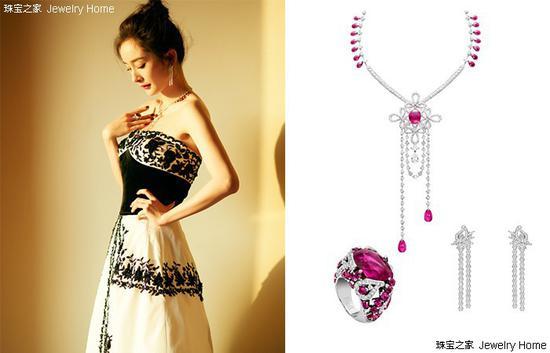 杨幂佩戴Piaget伯爵LimelightCouture 高级珠宝戒指、项链、耳环
