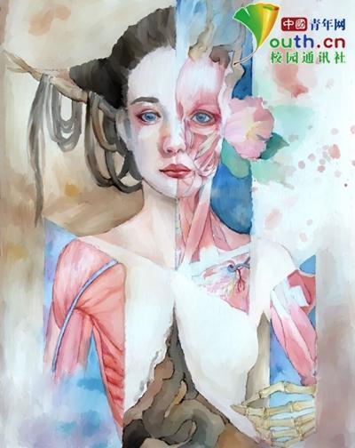 大学生手绘人体器官极具艺术美感