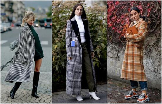 大衣别总挑黑白灰 今冬最流行的是格子款