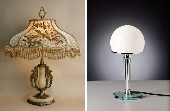 ▲左:19世纪的经典流苏台灯右:20世纪包豪斯风格的TecnolumenWG24