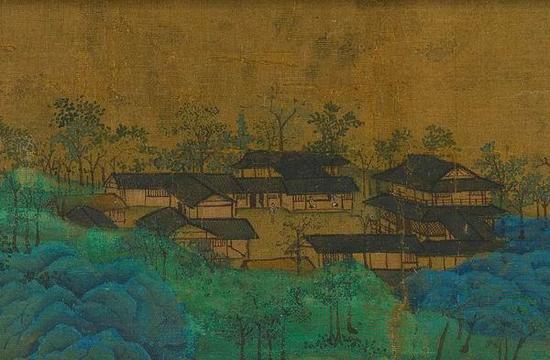 """""""故宫名画记""""网页中《千里江山图》的高清细部可见苔点"""