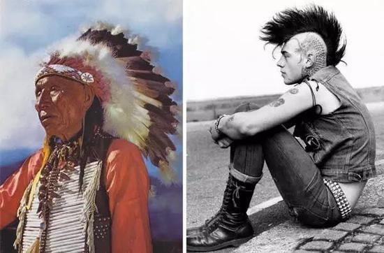 ▲庞克族招牌的莫霍克发型(右)灵感来自美洲土著(左)