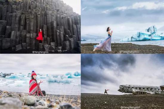 图:左上,维克黑沙滩;左下、右上,杰古沙龙湖;右下,Sólheimasandur by YangYangiiiiii