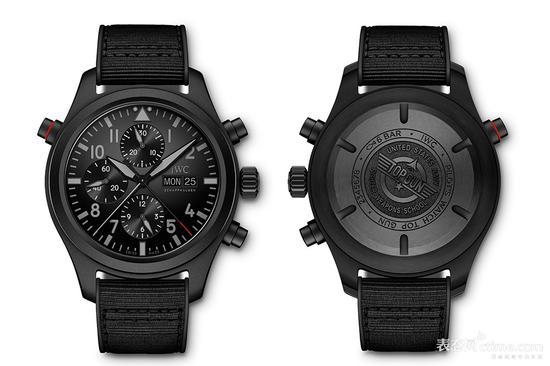 万国TOP GUN 海军空战部队瓷化钛金属双秒追针计时腕表