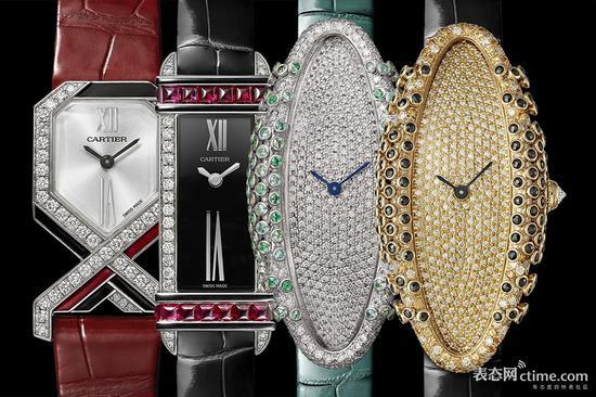 从左至右为Diagonale腕表、Tank Chinoise腕表、一对Baignoire Allongée腕表