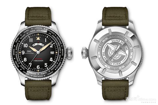 """万国喷火战机飞行员世界时区腕表""""最长的飞行""""限量版"""