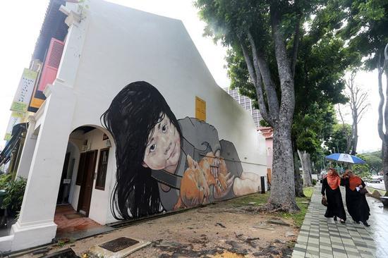 新加坡街头壁画艺术。