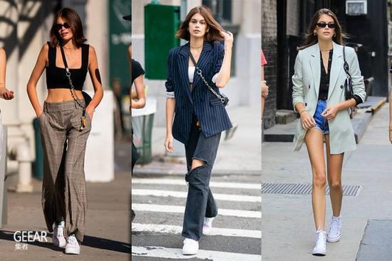 简约帆布鞋和白Tee打造简约时尚女孩