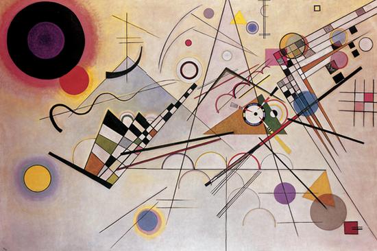 《構成8號》,1923年,油畫,140厘米×201厘米,紐約:古根海姆博物館