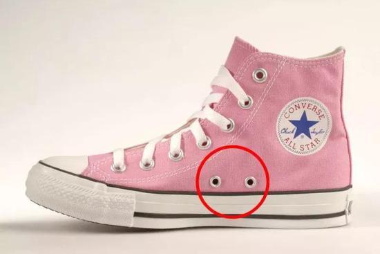 你知道帆布鞋鞋面一侧的这两个小孔,是做什么的吗
