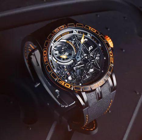 ▲ Excalibur Spider Pirelli 系列自动上链镂空腕表橙色款情境图