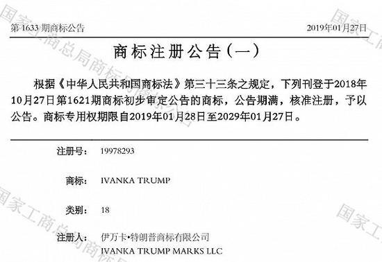 Ivanka Trump 第18类商标核准注册的公告