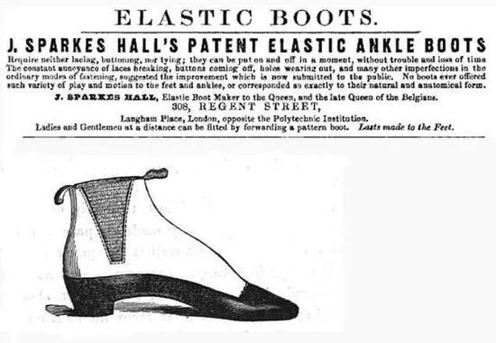 ▲维多利亚女王的鞋匠J. Sparks-Hall设计的靴款,也就是切尔西靴的雏形