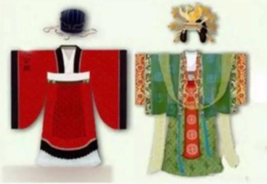 宋朝婚服承接唐朝的制度,红男绿女