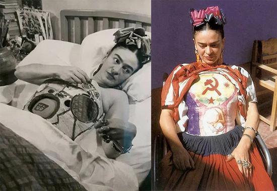 因为身体状况而必须穿着的胸衣也是弗里达风格的一部分。