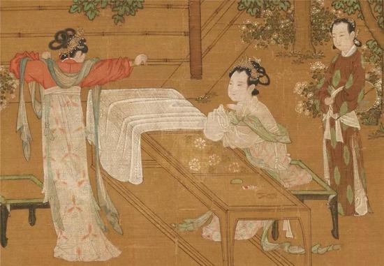 (南宋)刘松年《宫女图》(局部) 绢本设色