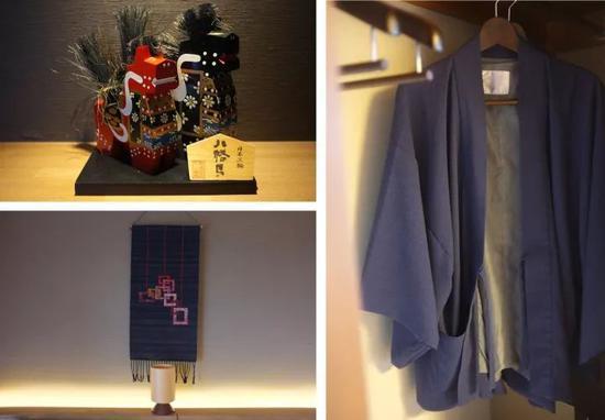 房间细节(左上:八幡马、左下:南部裂织、右:浴衣)