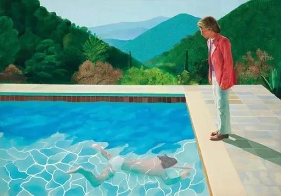 《艺术家肖像(泳池及两个人像)》