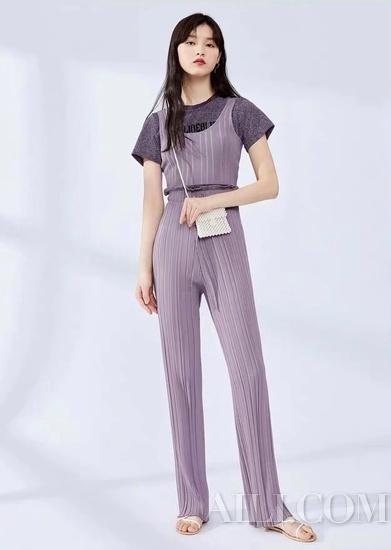 太平鸟针织背心夏季新款香芋紫无袖简约修身短款背心
