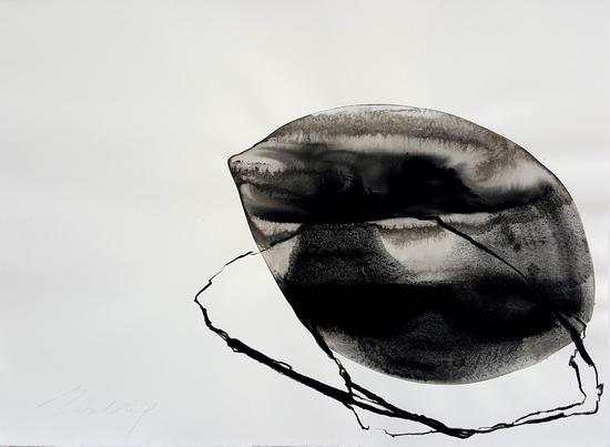 《来自阴影》,2018,铁锈/纸本水墨,56x76公分