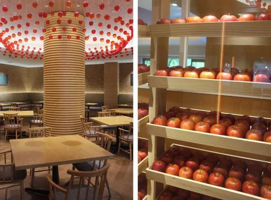 左:琉璃苹果树,右:1800个苹果的红酒柜