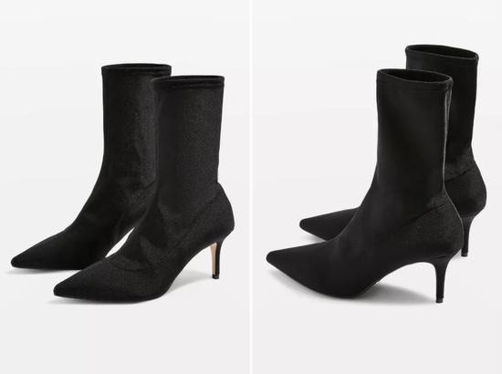 Stuart Weitzman 这双是绒面的,鞋跟设计有点特别。海淘网参考价:3729元。▼