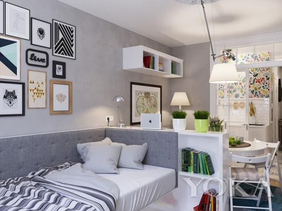 用高柜来进行空间划分,从不同的方向角度看房间,是有遮挡效果的 图片来自home-designing.com