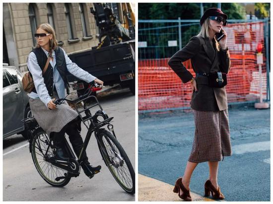 而且,《VOGUE》说过,半裙更建议选特别的款式。格纹半裙自然也满足这一点。
