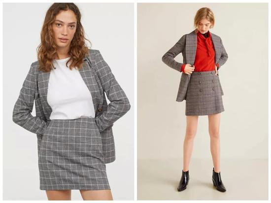 左款H&M,售价¥159;右款Mango,售价¥499