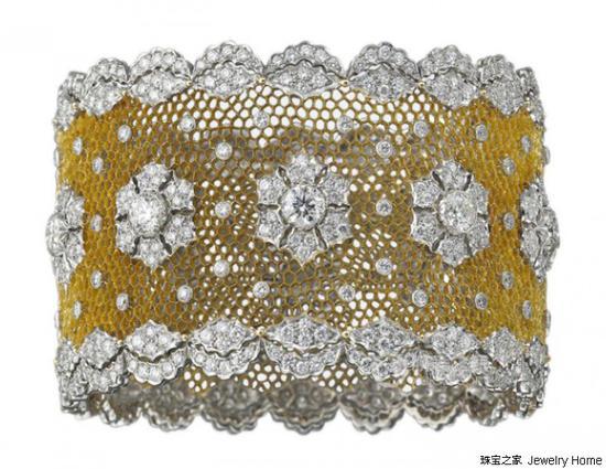 Buccellati布契拉提Unica系列凯瑟琳手镯18k白金、18k黄金