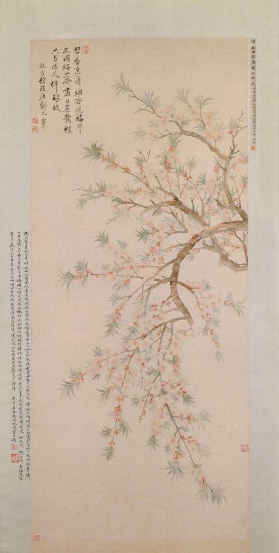 《桃花图》轴,清,恽寿平绘,纸本,设色,纵133厘米,横55.5厘米。故宫博物院藏。