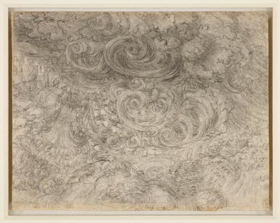 達·芬奇,《泛濫》,約1517-1518年(正在倫敦女王畫廊展出)