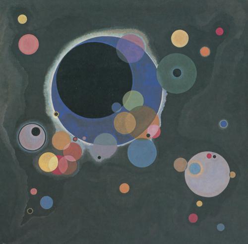《幾個圓圈》,1926年,油畫,140.3厘米×140.7厘米,紐約:古根海姆博物館