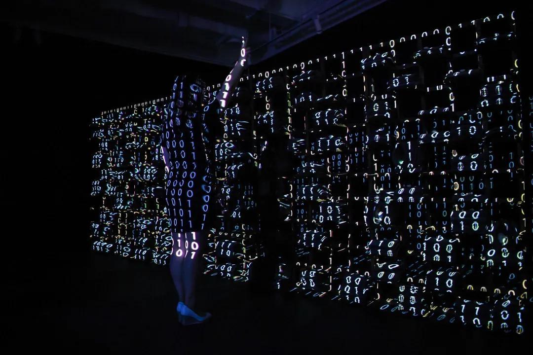 嘉宾与艺术家周林玮的作品《大算法》合影