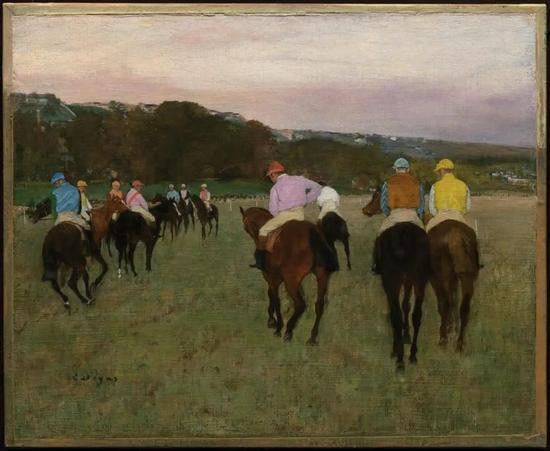 德加《朗尚赛马场》Racehorses at Longchamp,1871,可能重绘于1874