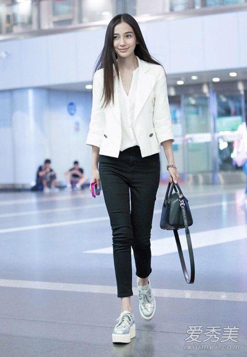 Angelababy杨幂都爱黑色九分裤 穿上瘦成闪电 杨幂机场街拍