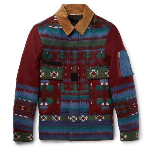 Valentino灯芯绒、丹宁镶边剪羊毛混纺夹克