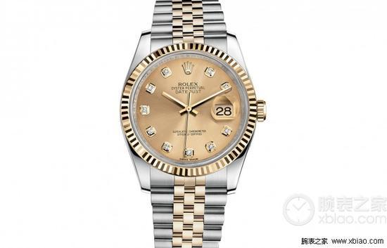 劳力士日志型系列116233香槟盘镶钻腕表
