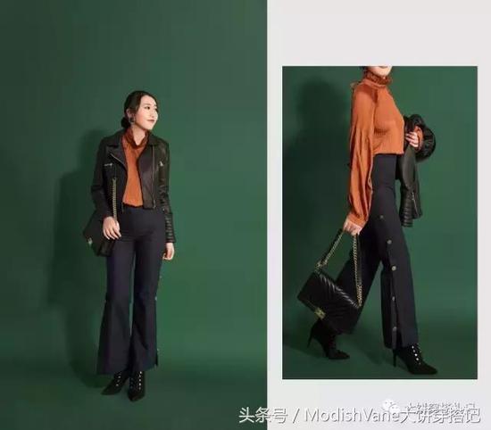 皮衣:Modish Vane | 上衣、裤:Storets | 包:Chanel | 靴:Guess