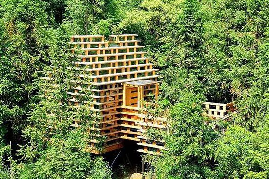 积木树屋由全实木和玻璃打造