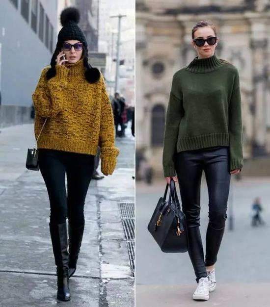 最后,毛衣的版型大一点,廓形稍微硬挺一点的,也有瘦胸效果。▼