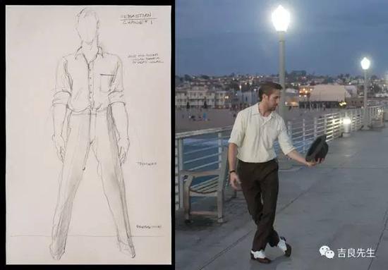 Emma戏服里开背的设计在这部影片里还有很多,像是Emma第一次去跟高司令看电影时穿的这条裙子,也同样是裸背的设计: