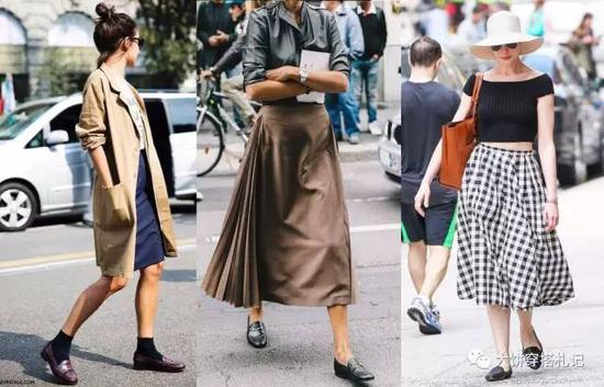 而且凸显脚踝就是乐福鞋的特征,所以各种裙长、款式都能搭配。