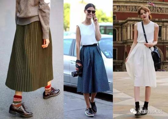 当然想要你的牛津鞋更百搭?还是纤细的楦型更为合适,饼的实践证明:几乎各种裙装通兑。